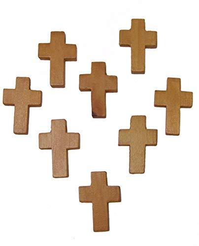 10 Kreuz Anhänger Holz 2,15cm, Rosenkranz selbst machen, Perlen basteln, Schmuck