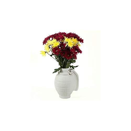 Unbekannt Blumenvase Granate weiß