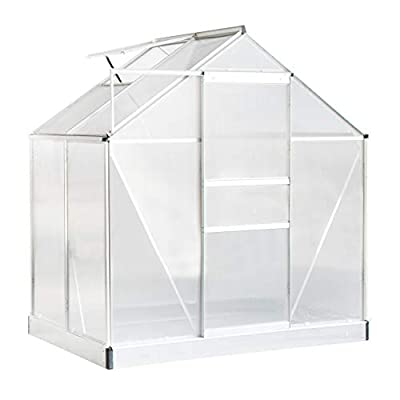 Aoxun Polycarbonate Walk-in Garden Greenhouse with Adjustable Roof Vent and Rain Gutter for Plants, Stable Green House for Flowers Outdoor for Winter,4 x 6 FT