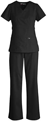 Grey s Anatomy 4153 4232 Women s Mock Wrap Top Tie Front Pant Medical Scrub Set Black S S product image