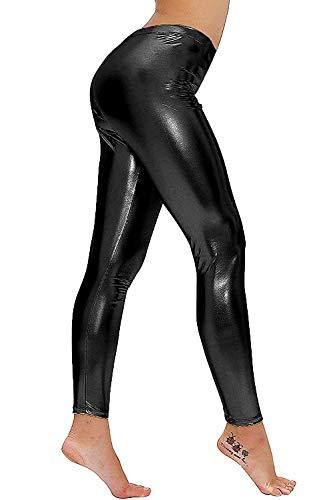 Jaanshi Lycra Women's/Girls Full-Length Shining Leggings (26, Black)