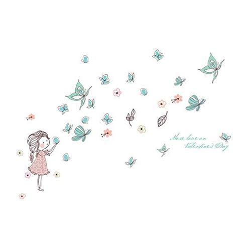 Mode Étanche Autocollant Mural DIY Amovible Art Papier Peint pour Bébé Garçon Fille Chambre Cuisine Fenêtre,Butterflies Pretty Girl