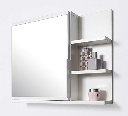 DOMTECH Badezimmer Spiegelschrank mit Ablagen, Badezimmerspiegel, Weiß Spiegelschrank