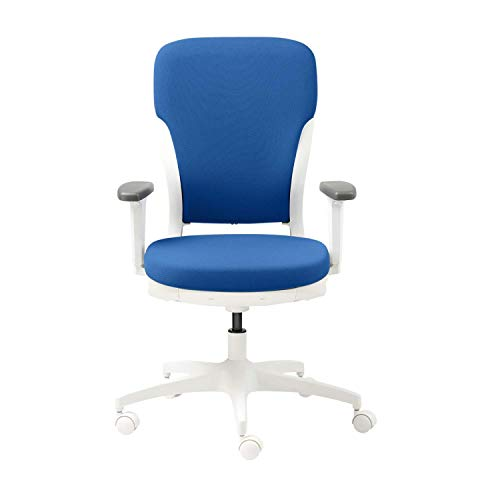 GODREJ INTERIO Plastic Adjustable Armrest Motion High Back Office Chair, Royal Blue with White Body