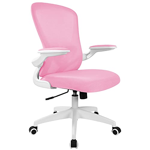 Office Chair, FelixKing Ergonomic Desk Chair with Adjustable Height, Swivel Computer Mesh Chair with Lumbar Support and Flip-up Arms, Backrest with Breathable Mesh (Pink)