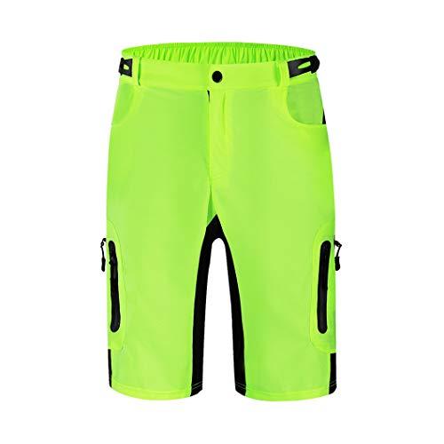 Hombres MTB Pantalones cortos al aire libre Motocross Bike Short Pant Transpirable Loose Fit Para Correr Bicicletas Ciclismo Cortos Verde M