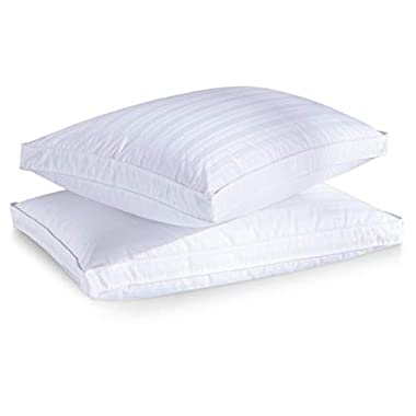 puredown Luxury Goose Down Pillow, 600 Filling Power, Gusset 2 Outer Protectors, 100% Premium Cotton Fabric, White,Standard/Queen Size, Set of 2