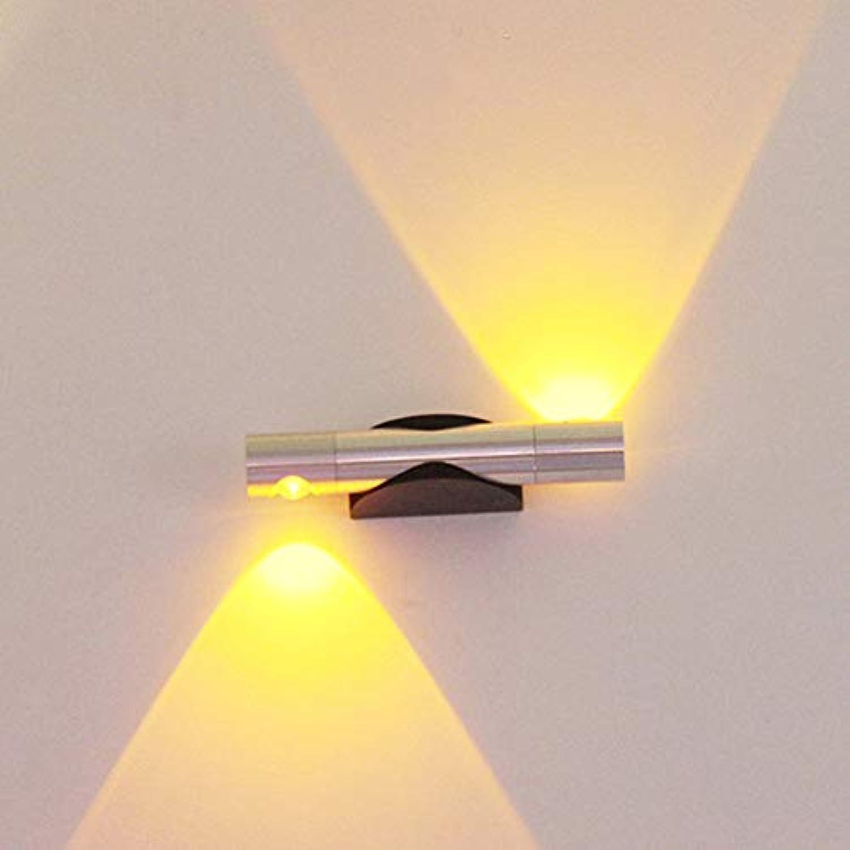 LED-Wandlampe Verstellbare Doppelkopf Rotierende Aluminium-Wand Lampe Schlafzimmer Wohnraum Outdoor-Korridor 6W Gelbes Licht