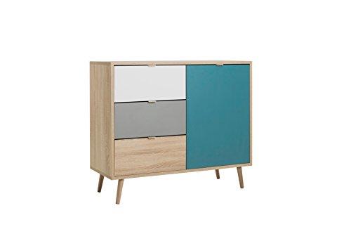 Kommode - Patchwork (B/H/T: ca.: 103 x 87 x 40 cm) skandinavisches Design - Vollholzfüße