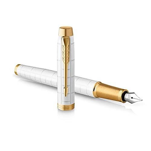 Parker IM stylo plume | Laqué perle Premium avec attributs dorés | Pointe fine avec cartouche d'encre bleue | Coffret cadeau