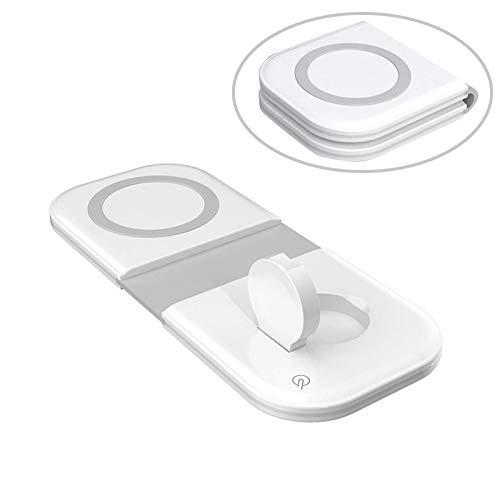 El último cargador inalámbrico 2 en 1 plegable de doble carga, cargador inalámbrico magnético para iPhone 12 Mini Pro Max, plataforma de carga inalámbrica rápida vertical inteligente