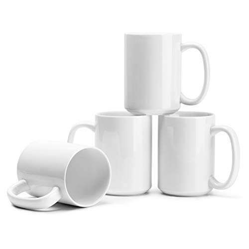 Porcelain White Coffee Mugs Set of 4-15 Ounce Cups with Large Handle for Hot or Cold Drinks like Cocoa, Milk, Tea or Water - Smooth Ceramic with Classic Design