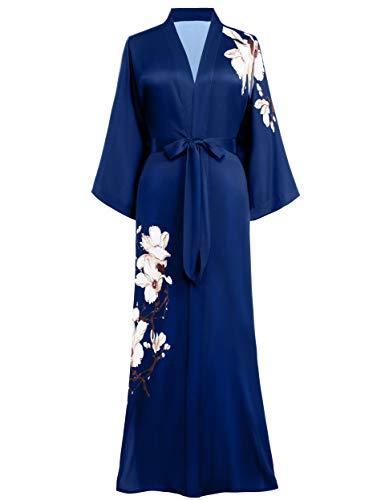 PRODESIGN Long Kimono Robe Satin Sleepwear Blouse Silky Bathrobe Nightgown Floral Kimono Cover Up (Kapok Blossom - Navy Blue)