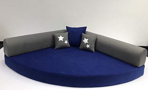 Kuschelecke Viertelkreis 140cm x 140cm inkl. Kissen, Farbe blau/grau, Made in Germany;