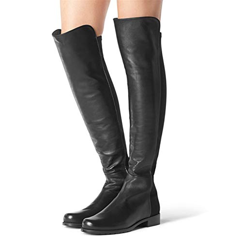 Women's Over The Knee Boots Stylish High Boots Long Overshoes High Stretch Shoes Good Elasticity Flexible Leather Flat Heel Ladies Footwear,Leather Black,38