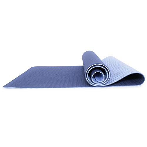ProsourceFit Natura TPE Yoga Mat 6mm Thick, 183cm Long, Reversible with High-Density Cushion & Non-Slip Texture, Eco-Conscious & Hygienic, Blue/Aqua
