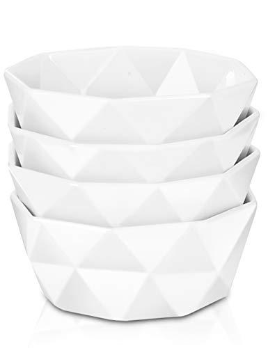Delling 22 Oz Geometric Cereal Bowls, White Soup Bowls Dessert/Snack Bowls Set for Rice Pasta Salad Oatmeal, Microwave / Dishwasher /Oven Safe Set of 4