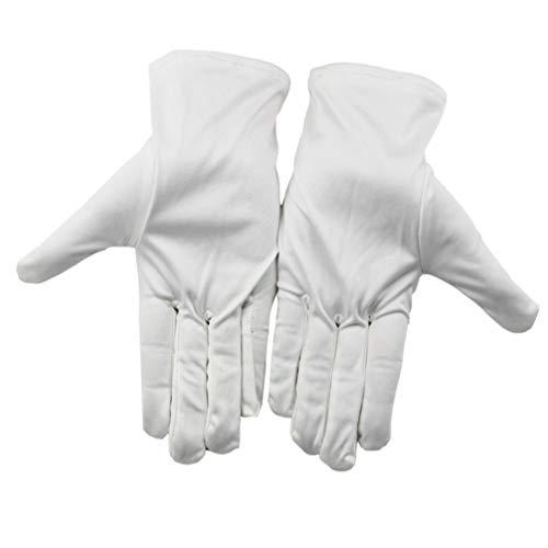 PIXNOR witte handschoenen voor munten sieraden zilver inspectie stofvrije doekhandschoenen voor thuis Lab keukenrestaurant 10 paar, wit, 15 Paar
