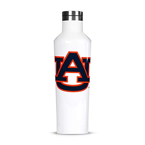 Corkcicle Canteen - 16oz NCAA Triple Insulated Stainless Steel Water Bottle, AUTigers, Big Logo