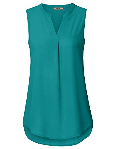 Timeson Business Casual Tops for Women,Juniors Blouses Business, Women's Casual Chiffon V Neck Cuffed Sleeve Blouse Tops Deep Cyan Small
