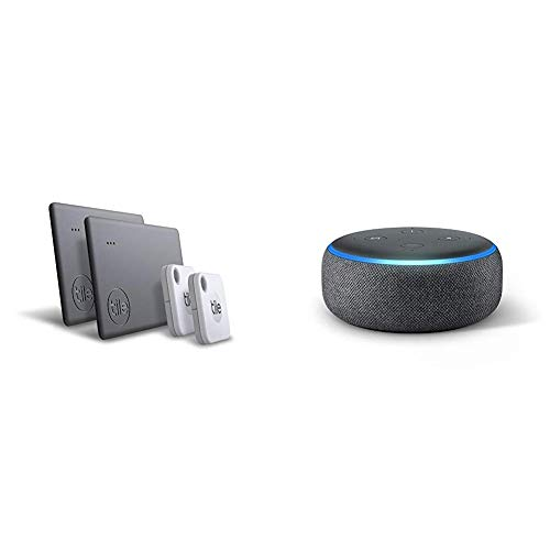 Tile Mate & Slim (2020) - 4-Pack (2 Mates, 2 Slims) Echo Dot (3rd Gen) with Amazon Smart Speaker with Alexa