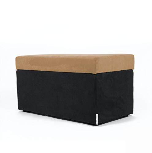 Arketicom Pandora Swing, Pouf de Rangement, Pouf Coffre Microfibre Camel Noir Made in Italy 84x42 cm