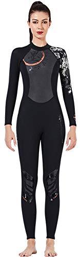 E-Qianw Men Women Wetsuit 1.5mm Neoprene Jumpsuit, Full Body Diving Suits for Scuba Surfing Swimming Long Sleeve Back Zip for Water Sports,Women,L