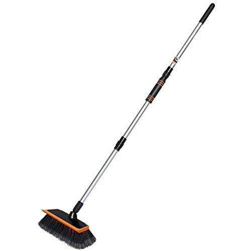 "MATCC Car Wash Brush Long Handle Wash Brush Kit with Squeegee Edge 10""Brush Head Car Wash Equipment for Auto RV Truck Boat Pool Deck"