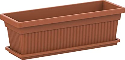 Cosmoplast Plastic Rectangular Planters 24'' With Tray - Terracotta