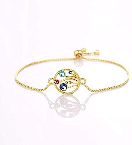 BACKZY MXJP Collar Vintage Boho Charm Lady Pulsera Colgante Pulsera Joyas Gold Pop Lucky Eye Tótem Religioso Longitud 24Cm