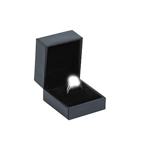 Honton Joyero organizador de joyas con soporte para joyas, anillo de almacenamiento de cuero, caja de joyería de papel rellenado para mujer y niña, 4,6 x 5,2 x 3,5 cm negro (caja de joyería vacía)