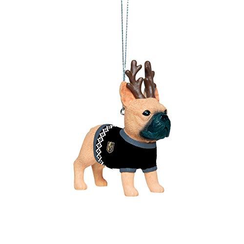 FOCO Vegas Golden Knights NHL French Bulldog Wearing Sweater Ornament, One Size, RONHFBWRSW