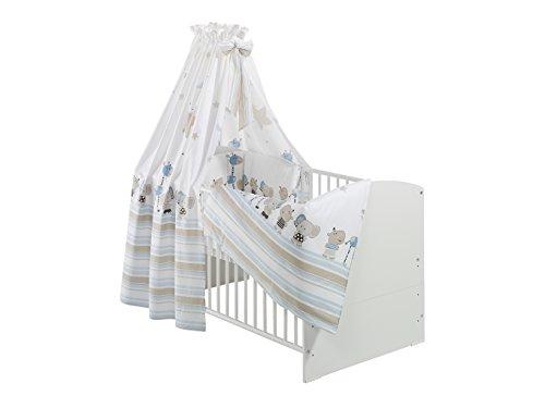 Kinderbett Classic-Line Weiss 70x140 cm, inklusive Umbaukit, Bett-Set Banjo Blau, Matratze und Himmelstange