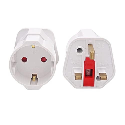 Convertidor de Enchufe UE Euro 2 Pin a Reino Unido 3 Enchufe C.A. Adaptador Universal Convertidor de Viaje Europeo 25 0V 16A Adaptador de Viaje Universal (Color : White, Standard : EU To UK)