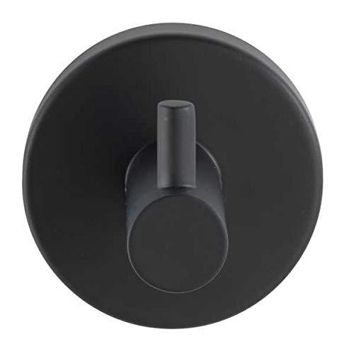 WENKO Wandhaken Uno Bosio Black, hochwertiger Wandhaken aus lackiertem Edelstahl, Handtuchhaken für Bad, Gäste-WC und den gesamten Haushalt, Befestigung ohne bohren, Ø 5,5 x 5,5 cm, Schwarz matt