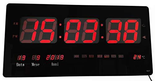Cucuba Nuevo Reloj de pared de cuarzo LED con fecha, temperatura para el hogar, un bar, la oficina, etc. Tamaño XXL