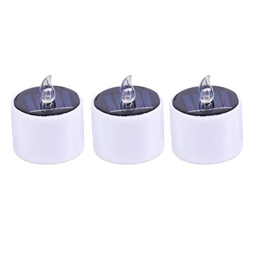 3 candele solari elettroniche della candela senza fiamma luminose impermeabili della candela solare per la decorazione del cortile domestico