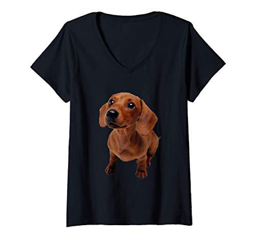 Mujer Adorable lindo perro salchicha peludo marrón Camiseta Cuello V