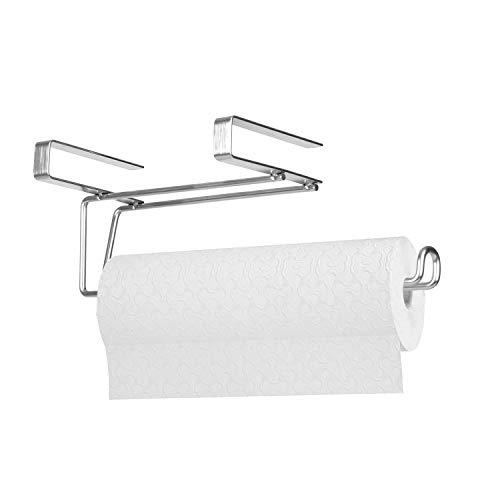 JSVER Küchenrollenhalter Ohne Bohren Edelstahl Papierrollenhalter Küche Unter Schrank Küchenrollenspender Handtuchhalter Plastiktütenhalter-Silber