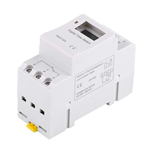 Interruptor de temporizador digital, temporizador de encendido y apagado 16 Temporizador mecánico interior para lámparas de neón Equipo de producción para radio y televisión(12V English, white)