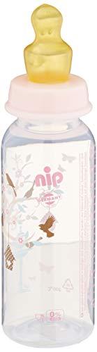 nip Standardflasche PP mit Trinksauger Anatomisch Latex, ab 6 Monate, Rosa, Größe M, 250 ml, Girl