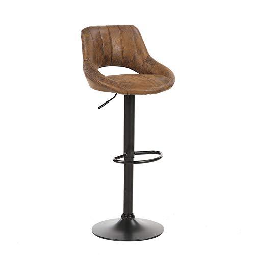Sxfcool Gamuza Cuero Ajustable Giratorio Barra de elevación Taburete con Respaldo de Comedor sillas Alto Taburete Vintage rotación Bar taburetes,Brown