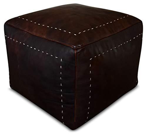 Quadratischer Leder Pouf - Havana Braun - Handgefertigt - gefüllt geliefert - Ottoman Sitzsack Fußhocker