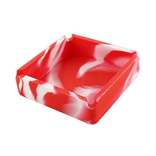 QURIURJ 1pc de Silicona Cenicero Cenicero Cuadrado de Camuflaje Caucho de Silicona Cenicero Rack Accesorios de Fumar (Color : Red and White)