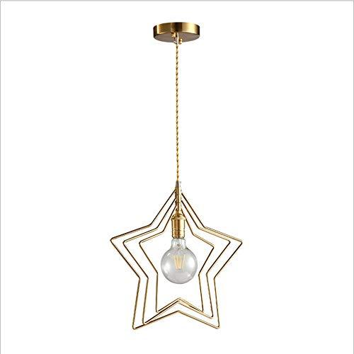 ZAKRLYB Lámpara colgante creativa de Pentagram, lámpara colgante E26 / E27 Lámpara de cobre reluciente retro for restaurante dormitorio cocina isla candelabro