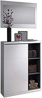 Habitdesign 0G6749BO - Recibidor zapatero + espejo acabado Blanco Brillo y Gris Ceniza medidas 79x108x25cm de fondo