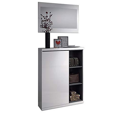 Habitdesign 0G6749BO - Recibidor zapatero + espejo, acabado Blanco Brillo y Gris Ceniza, medidas 79x108x25cm de fondo