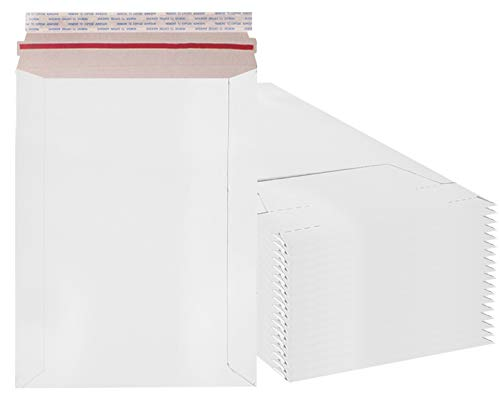 Rigid Mailers 6x8 Paperboard mailers 6 x 8 by Amiff. Pack of 20 white photo mailers. Stay Flat mailers. No bend, Self sealing. Documents chipboard envelopes. Mailing, shipping, packaging, packing.