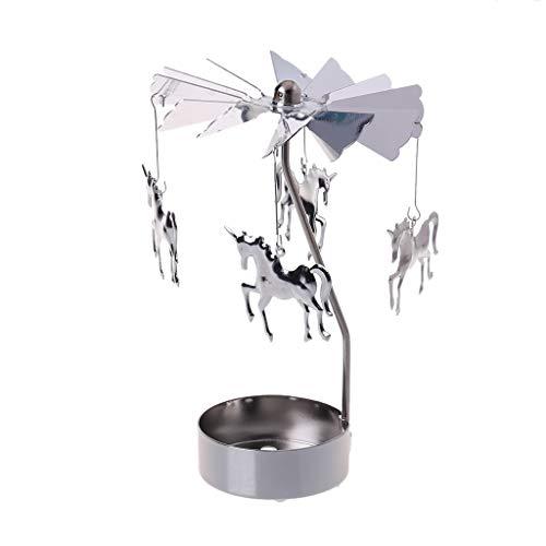 YFairy - Portacandele con pupazzo di neve, rotante, rotante, girevole a giostra e candela, portacandele