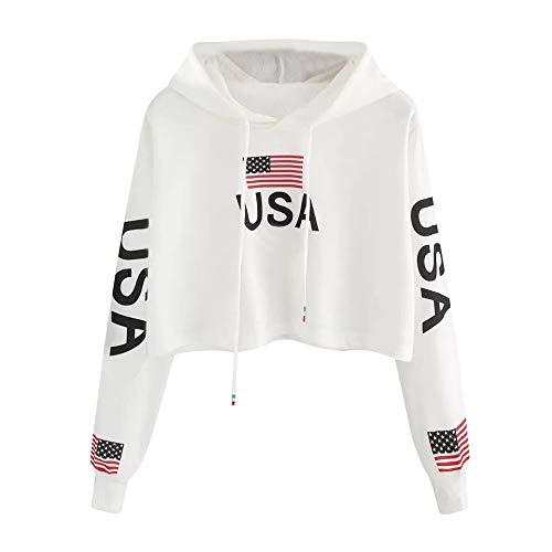 DEELIN Sweatshirt à Capuche Court à la Mode des Femmes imprimé Drapeau américain (Small, Blanc)